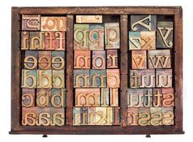 tipo di legno dello scritto tipografico foto