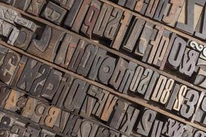 alfabeto di stampa tipografica