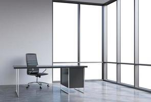 luogo di lavoro in un moderno ufficio panoramico ad angolo foto
