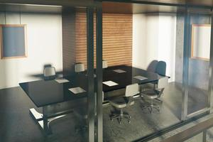 moderna sala conferenze in stile loft con mobili al tramonto foto