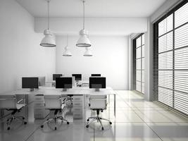 interno moderno dell'ufficio nella rappresentazione bianca 3d foto
