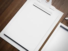 set di due elementi bianchi bianchi business classico. Rendering 3D foto
