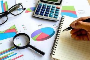 la contabilità finanziaria di affari dell'ufficio dello scrittorio calcola, analizza il grafico foto