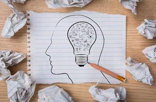 carta bianca del taccuino con la lampadina di disegno a matita
