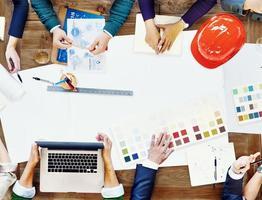 team di progettazione constraction incontro concetto di pianificazione del brainstorming foto