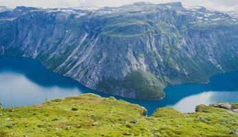 bellissimo panorama estivo norvegese paesaggio montano vicino a trolltunga, Norvegia