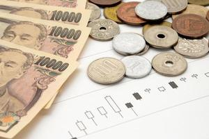 grafico del prezzo delle azioni e valuta giapponese foto