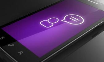 icona chat - concetto di smart phone personalizzato foto