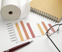 finanza della scrivania del mercato azionario del grafico del grafico commerciale foto