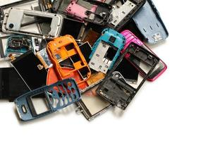 mucchio di rottami di telefonia mobile