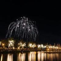 grandi fuochi d'artificio nel cielo sopra un parco