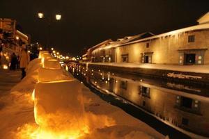 via della luce della neve otaru foto