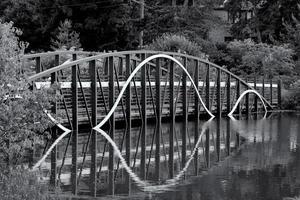 ponte curvo sul lago foto