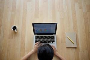 ragazza che si siede sulla tazza e sul taccuino di caffè del computer portatile del pavimento di legno foto