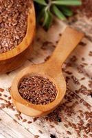 semi di lino nel cucchiaio foto