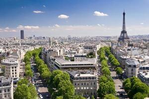 vista su Parigi da Arc de Triomphe, Francia foto