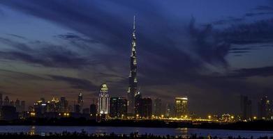 skyline di Dubai blu foto