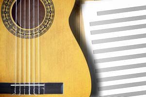 chitarra spagnola con fogli spartiti vuoti.
