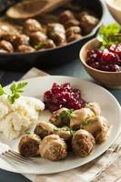 polpette svedesi fatte in casa con salsa di panna
