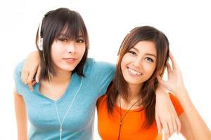 donna e cuffia asiatiche foto