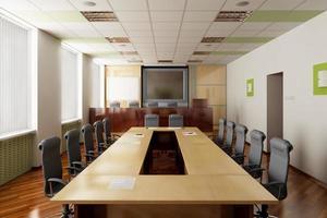 un 3d rendering di una sala conferenze foto