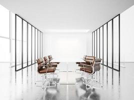 sala riunioni bianca con finestre panoramiche. Rendering 3D