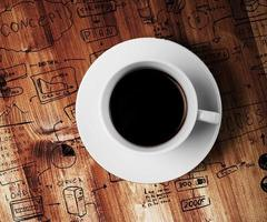 tazza di caffè e strategia aziendale di disegno foto