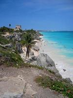 tulum messico maya rovine spiaggia foto