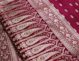 primo piano indiano di progettazione del ricamo di saree