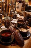 installazione di bevande con cioccolata calda foto