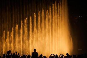 la gente profila contro una fontana