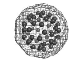 buckminsterfullerene (buckyball, c60), modello molecolare. foto