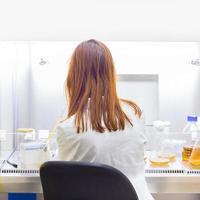 life scientist ricercando in laboratorio. foto