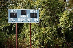 tabellone segnapunti di baseball della lega della gioventù foto
