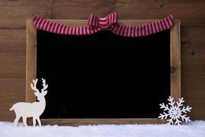 lavagna di natale, fiocco di neve, renna, copia spazio, neve foto