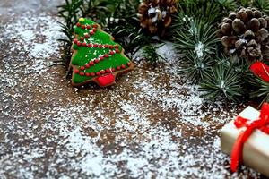 decorazioni natalizie con copia spazio foto