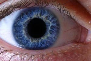 occhio umano blu profondo foto