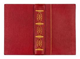 copertina di libro rossa aperta vuota isolata su bianco