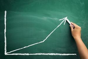 lavagna con grafico commerciale finanza foto