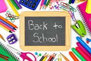lavagna di ritorno a scuola con cornice di materiale scolastico
