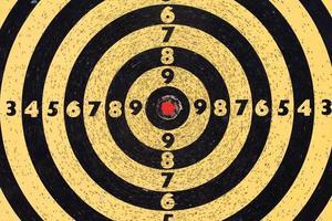 bersaglio da tiro. mirare con i numeri. centro rosso. vista a macroistruzione foto