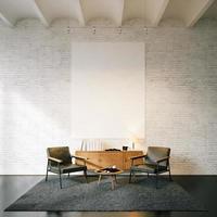 foto di tela vuota sullo sfondo muro di mattoni bianchi