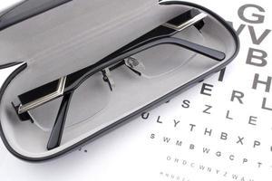 occhiali e diagramma degli occhi foto