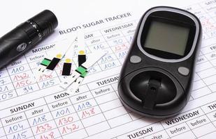 glucometro e accessori su moduli medici per il diabete foto