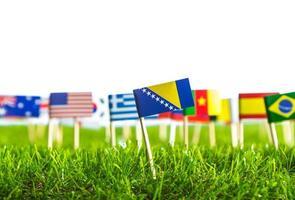 taglio della carta di bandiere sull'erba per il campionato di calcio 2014 foto