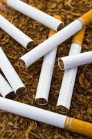 primo piano del dettaglio delle sigarette sul fondo del tabacco foto