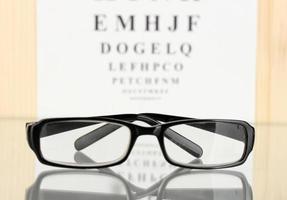 diagramma di prova della vista con il primo piano degli occhiali foto