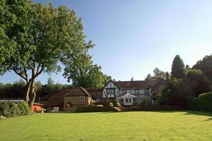 grande cortile e casa tudor con albero alto foto