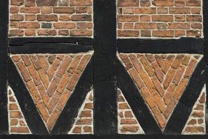 Mattone medievale e casa a graticcio a Ribe, Danimarca. foto
