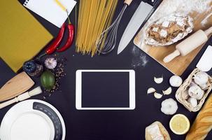 mockup di tablet pc da cucina foto